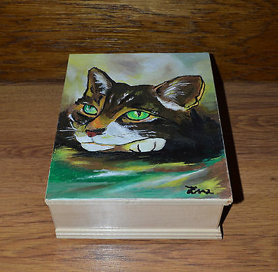 Unique Custom Wood Casket Memorial Urn for Cat's ashes Hand painted Pet Urn Cat