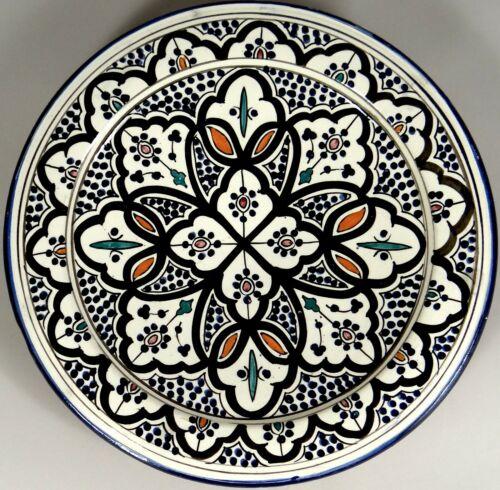 Folk Art Pottery Flat Bowl Plate Platter A Serghini Safi Moroccan Morocco 12 in