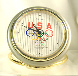 Seiko Quartz Travel Alarm Clock with Olympic Rings, Olympics FanGear, QQQ184G