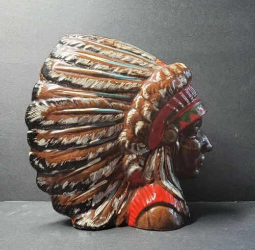 Vintage Turner Falls Okla Indian Chief Headdress Souvenir Ceramic Bank Chickasaw