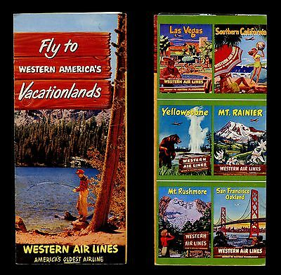 c. 1950 Western Air Lines VACATIONLANDS BROCHURE w/ THUMBNAIL OF 6 POSTER ART