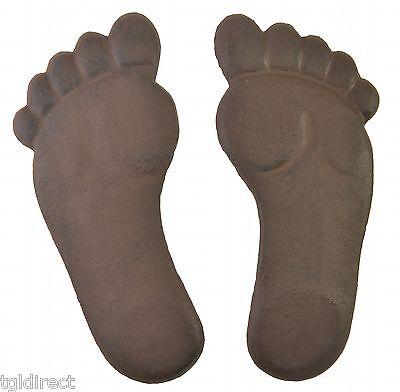 Human Footprint Stepping Stone Pair Cast Iron Yard Garden Flagstone Brown Feet