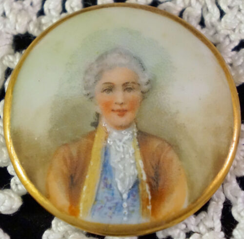 Hand Painted Porcelain Portrait Plaque Victorian Gentleman CP Millsbaugh 1903