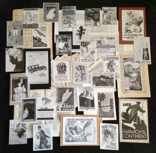 B&W GRAB BAGS~Junk Journal Collage Art Pack~Vtg Mini Ad Poster Repros&Paper Lots