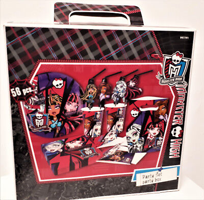 56 tlg Monster High  Party-Set Geburtstag Becher Teller Servietten  Geschenk-Box