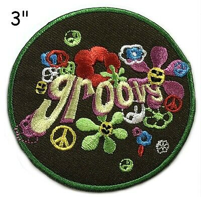 60's Retro Groovy Embroidered Iron On Patch - Peace Hippie Girl Flower 153-U