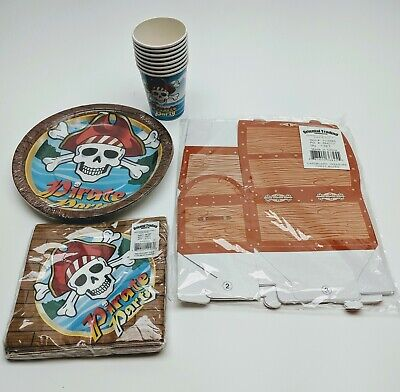 Pirate Birthday Party Supplies SET Plates Napkins Cups and Treasure Chest  - Pirate Plates And Napkins