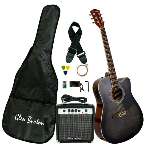 Glen Burton GA204BCO-BK Acoustic Electric Cutaway Guitar, Bl