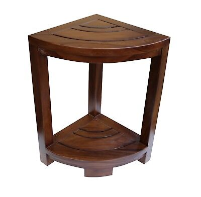 ALA TEAK Corner Teak Wood Bath Spa Shower Stool Corner Table Fully Assembled  ()