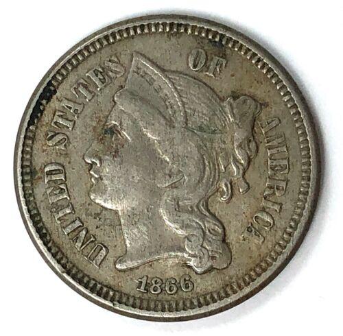 RARE 1866 3 Cent Nickel Coin