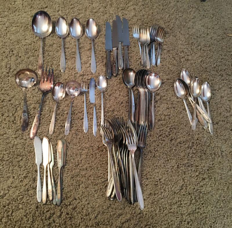 74 Pc Deco Community GROSVERNOR Silverplate Flatware Set&Bullion Spoons&serving