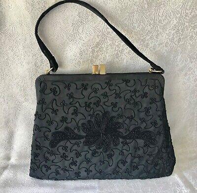1940s Handbags and Purses History  VIintage 1940s Corde Handbag Black with Gilt Clasp $42.32 AT vintagedancer.com