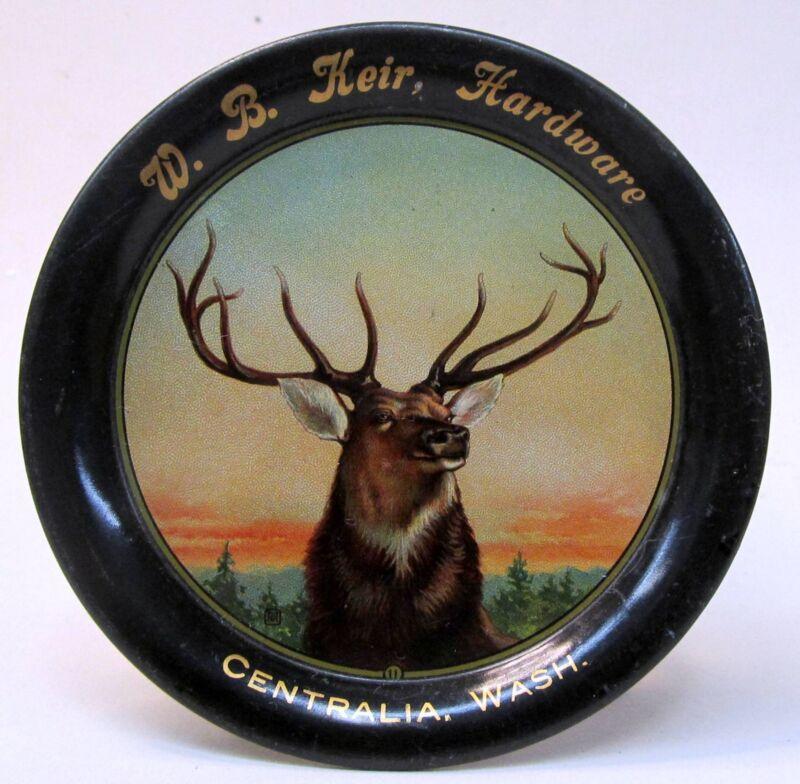 elk c. 1910 W.B. KEIR HARDWARE Centralia Washington tin litho tip tray ashtray