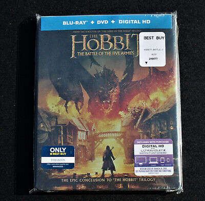 THE HOBBIT THE BATTLE OF THE FIVE ARMIES BLU-RAY + DVD + DIGITAL HD NEW