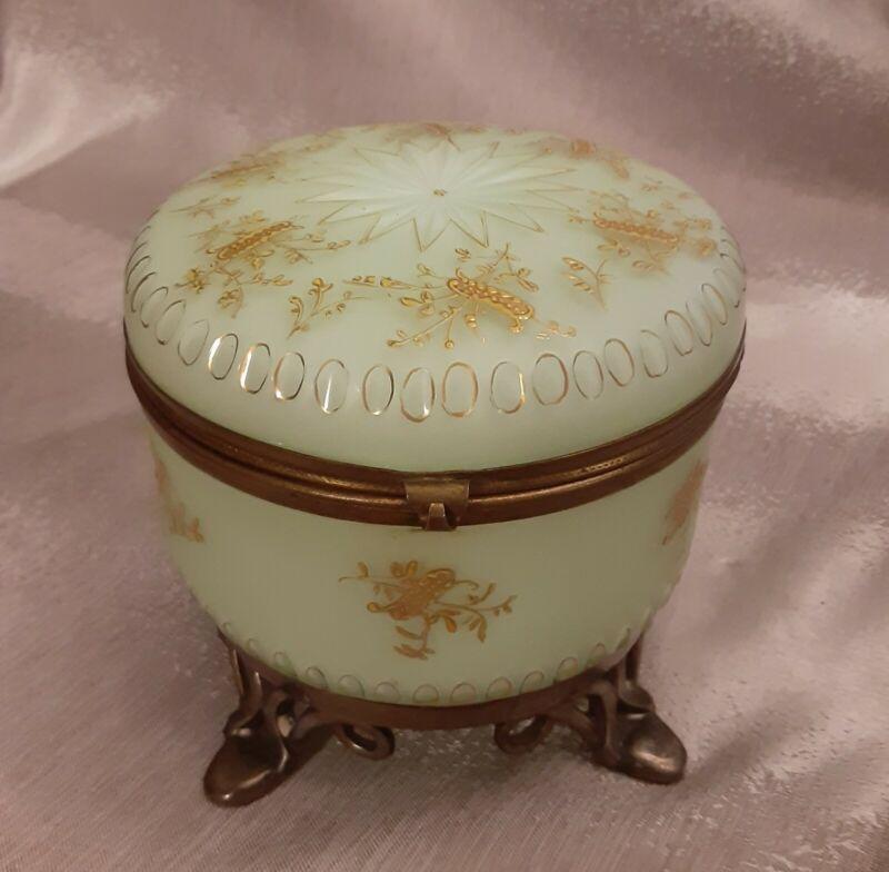 Vintage Satin Cut Glass Vanity Trinket Powder Footed BoxChartreuse