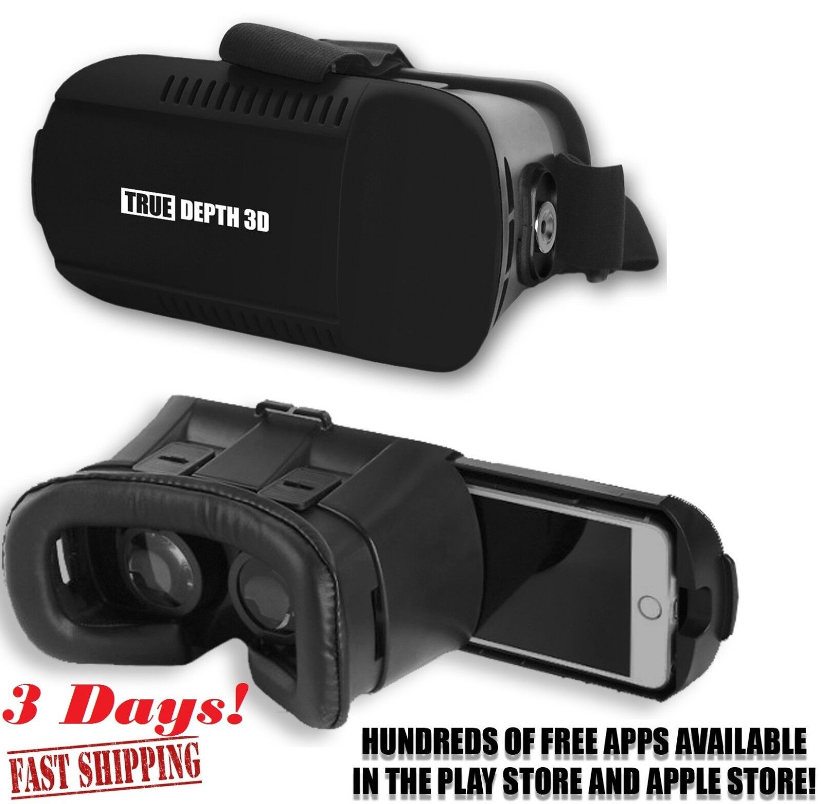 "True Depth 3D® VR Inferno™ Premium Virtual Reality Headset Fits All 4-6"" Phones"
