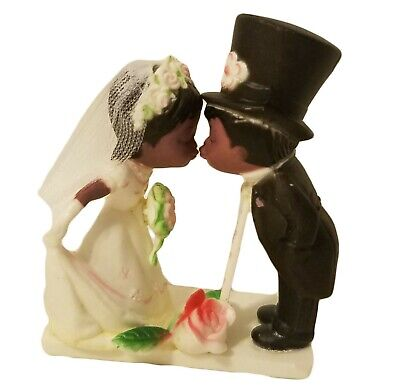 Small Black African American Bridal Wedding Couple Plastic Cake Cupcake (African American Wedding Cake Topper)