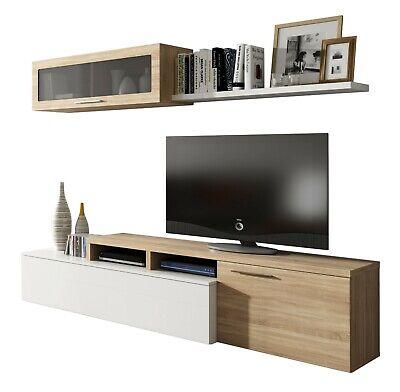Parete attrezzata mobile TV sala da pranzo Dalì Bianco Rovere salotto soggiorno