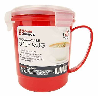 Home Basics 24 oz. Plastic Microwaveable Soup Mug, Red/Clear - SC47278 - Clear Mugs