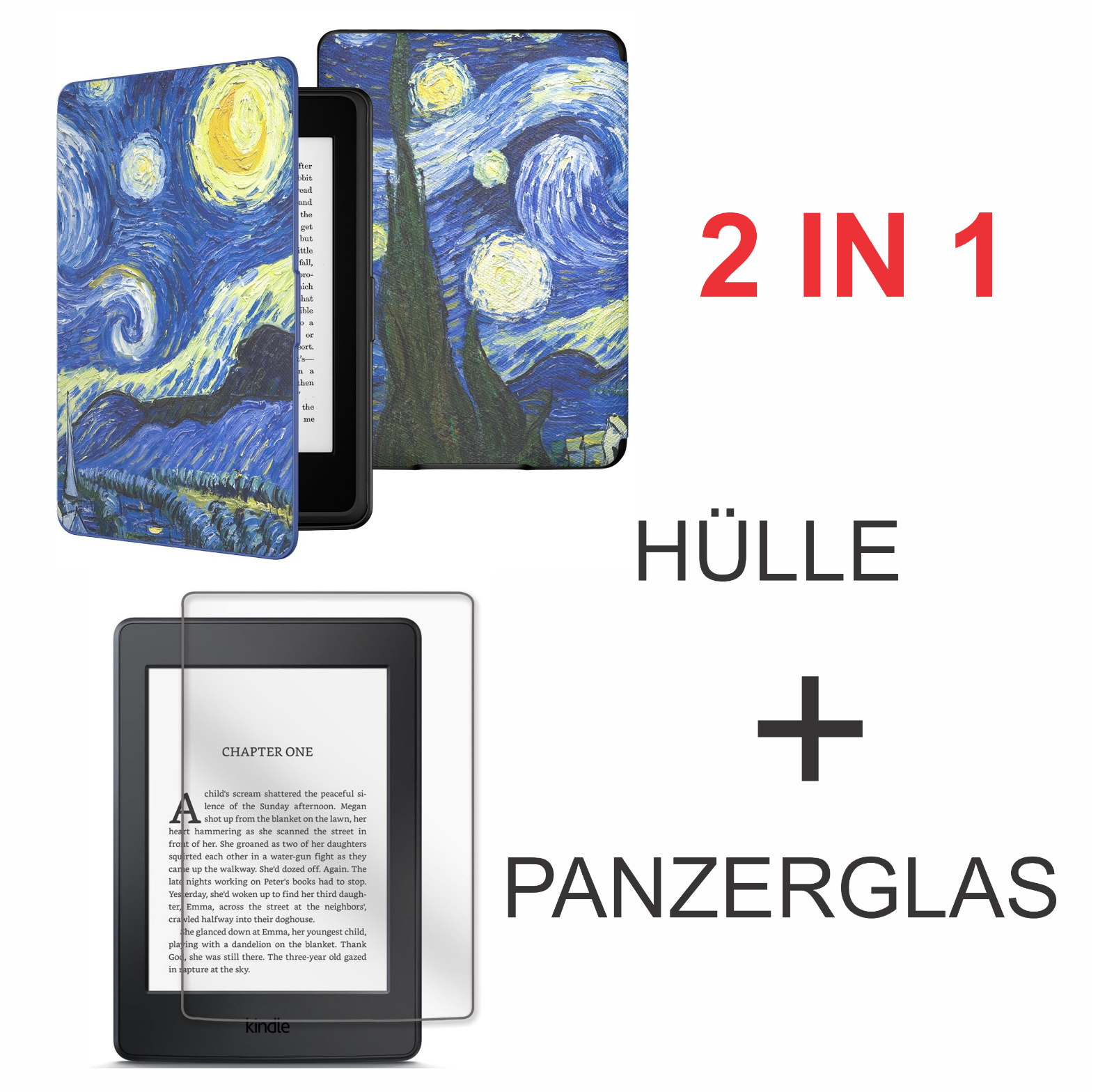 Amazon Kindle Paperwhite Hülle Van Gogh Starry Night Displayschutzfolie Glas