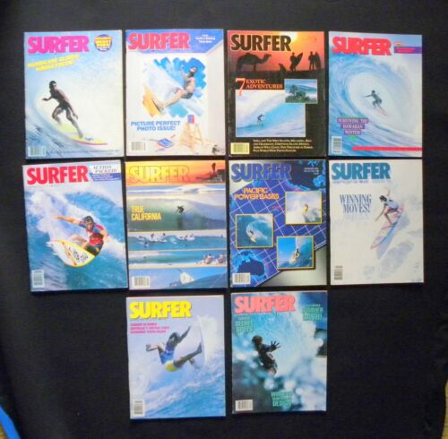 SURFER MAGAZINE 1986 VOL 27  LOT OF 10 ISSUES SURFER LONGBOARDING  HAWAII