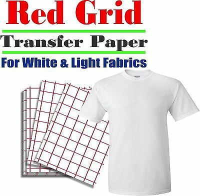 Heat Transfer Paper Red Grid Iron On Light T Shirt Inkjet Paper 100 Pk 8.5x11