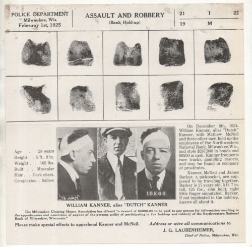 Dutch Kanner 1925 Wanted Poster - Bank Heist with Gangster Davie The Jew Berman