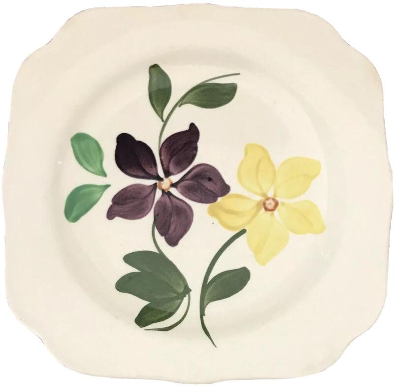 Blue Ridge Pottery Plate Square Mid Century Retro Floral Vintage Decorative Deal