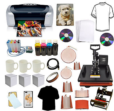 8in1 Combo Heat Transfer Pressepson Printer C88ciss Inkt-shirtsmugplate Kit