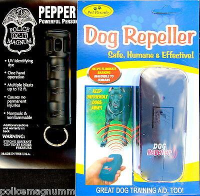 Ultrasonic Anti Bark Training Dog Repeller & 1/2oz FT Police Magnum Pepper Spray