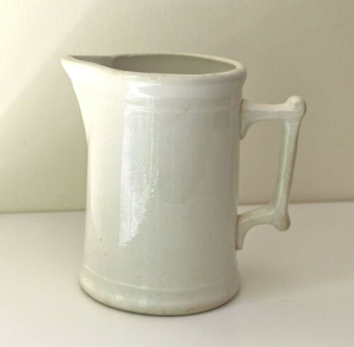 "antique white ironstone pitcher 7.5"" aged stoneware"