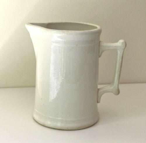 "antique white ironstone pitcher 7.5"" aged stoneware"