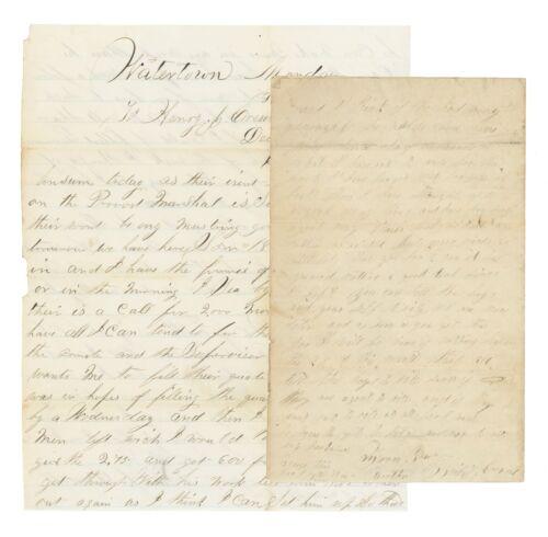 1861 Civil War Letter - Filling NY Enlistment Quotas, Middlefield, German Flatts