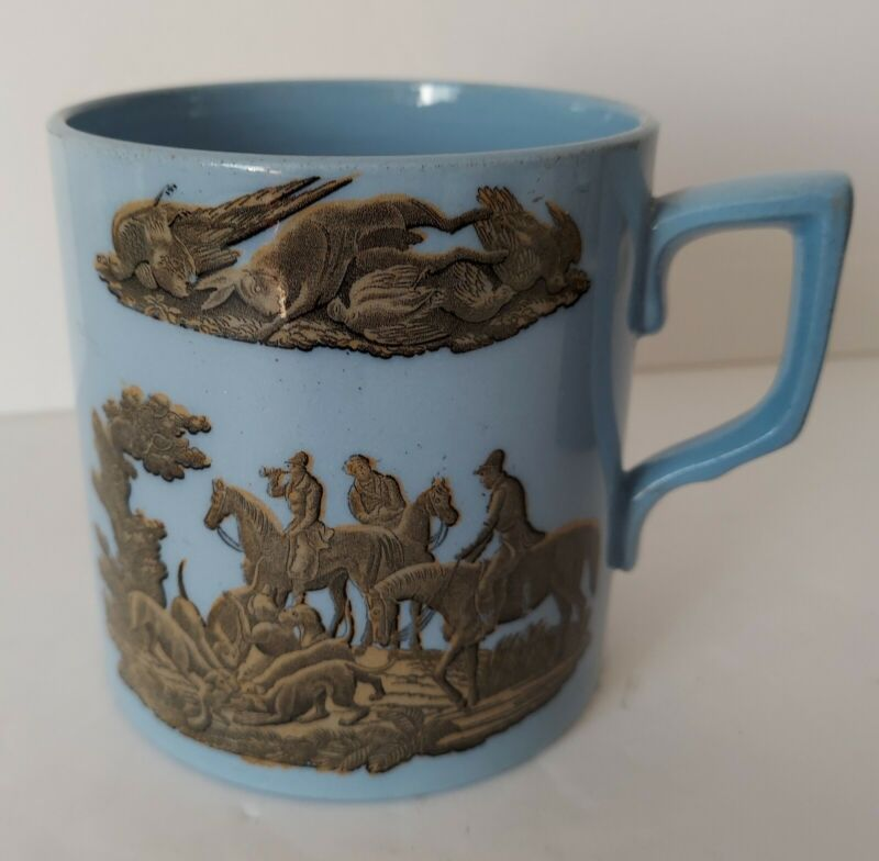 "Antique English ""Hunting Scene"" Ceramic Mug Stamped - ""1842-1883"""