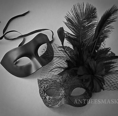 New Black Couple Netting Brocade Lace Feather Masquerade New Year  Wedding Masks - Black Feather Masquerade Mask