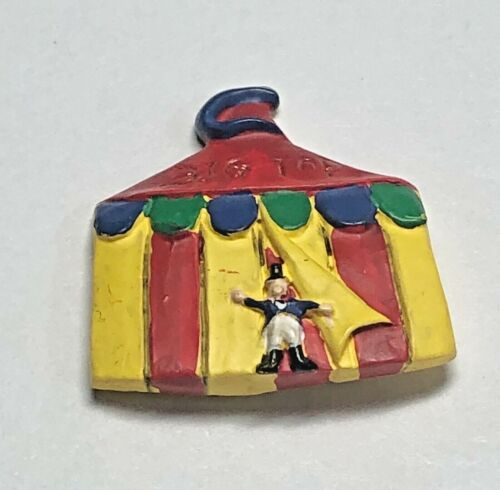 """Vivid Hand Painted """"BIG TOP"""" Circus Tent, Ringmaster Plastic Button -BL backmark"""