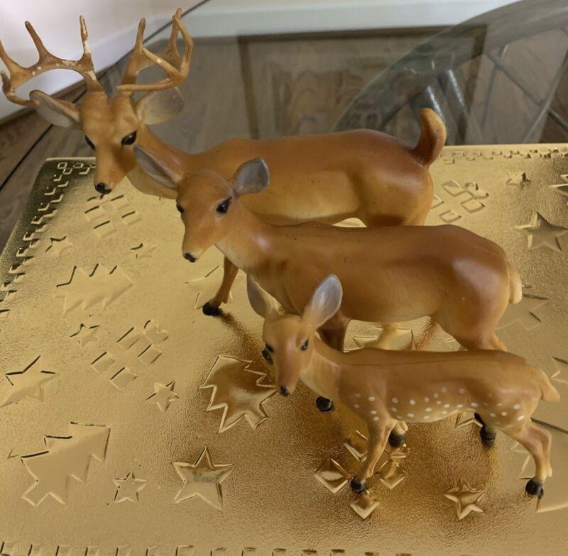 Vintage Hard Plastic Deer Family Hong Kong