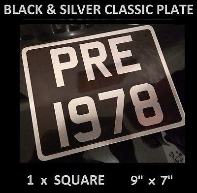 "Number Plate Pre 1978 Cars Vintage Metal Classic UK Aluminium Square 9"" x 7"""