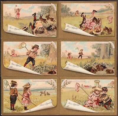 """LIEBIG T-2 """"CHILDREN & RABBITS"""" FULL SET 6 VINTAGE TABLE(PLACE) CARDS 1892 FRNCH"""