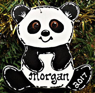 PANDA BEAR Christmas Ornament U CHOOSE NAME & YEAR Personalize Holiday Gift Kids - Panda Ornament