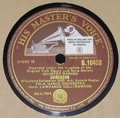 FOLK DANCE ORCHESTRA ENGLISH FOLK DANCE SONG SOCIETY HMV 78RPM B10458 English Folk Song