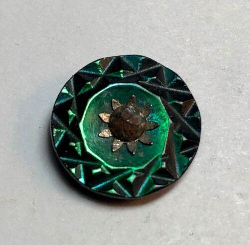 Beautiful Iridescent Carved Green Shell Button - Watch Wheel & Center Cut Steel