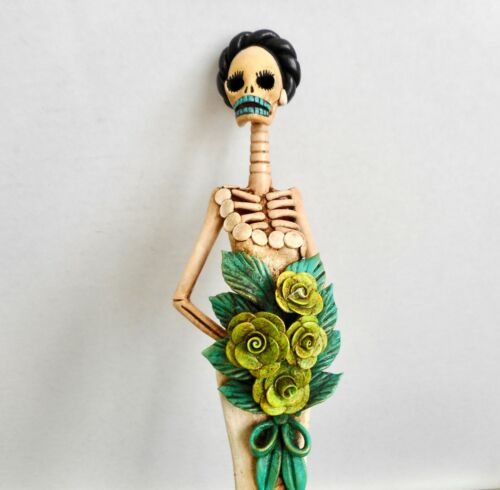 CATRINA BRIDE Figurine Mexican Day of the Dead Handmade Painted Folk Art 16.25H