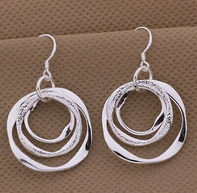 925 Sterling Silver Circle In Circles Abstract Art Dangle Drop Hook Earrings