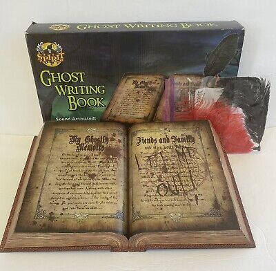 SPIRIT HALLOWEEN Prop Animated GHOST WRITING BOOK Sound Activated WORKS GREAT!