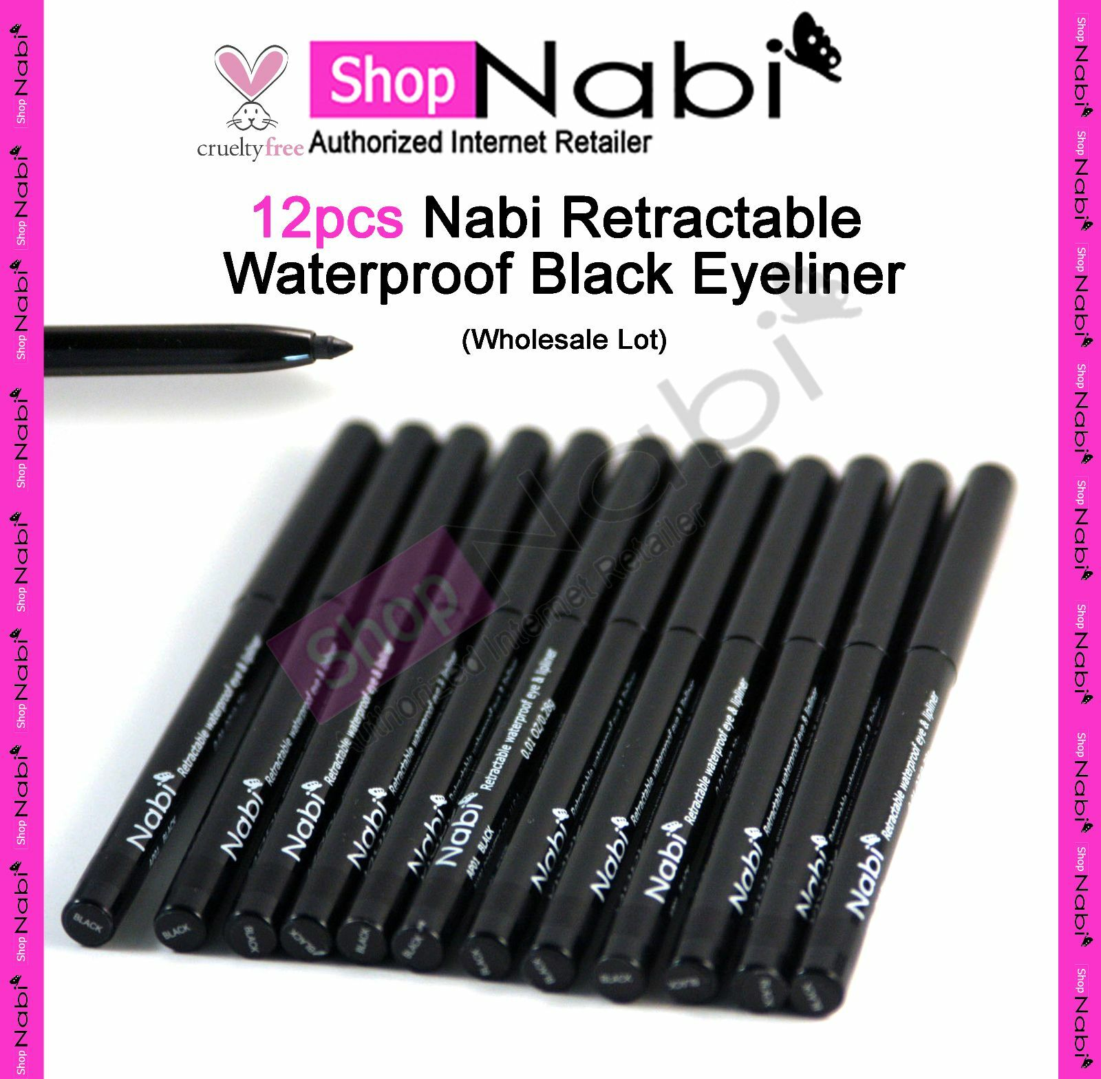 12pcs Nabi Retractable Waterproof  Black Eyeliner_cruelty Fr