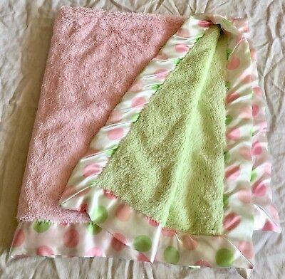 Bearington Baby satin Trim Pink Green Reversible Polk A Dot Crib (A Baby Satin Blankets)