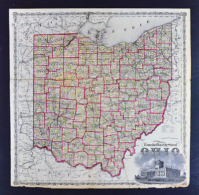 1874 Ohio Railroad and Township Map - State Capitol Scene - Columbus Cleveland