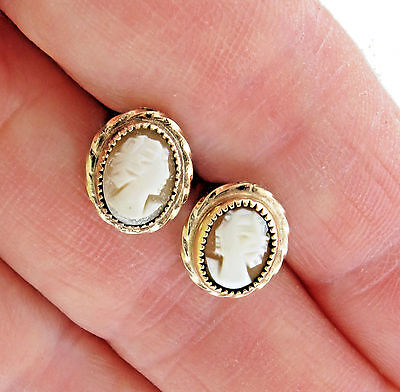 Vintage Carved Shell Cameo Studs Earrings 1/20 12kgf 7x10mm oval