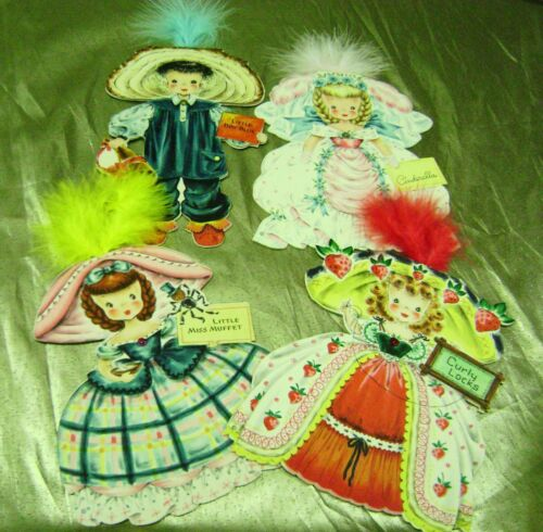 VTG PAPER DOLL GREETING CARDS LOT HALLMARK LAND OF MAKE BELIEVE 1940s 3 UNUSED!!